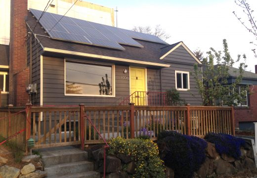 Small house with solar panels