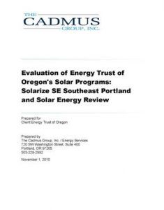 thumbnail for Cadmus Report of ETO Solar Programs cover