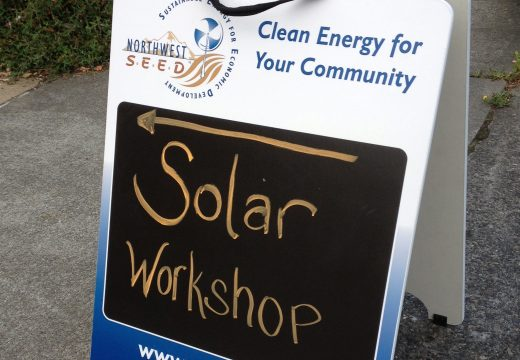 sign at Solarize Southwest workshop
