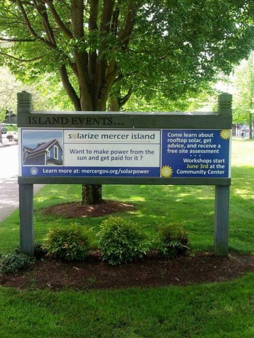 Promotional sign at Mercerdale Park
