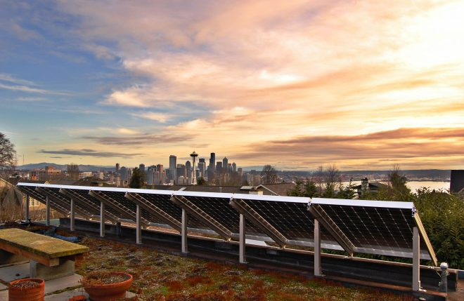 solar panels and city skyline view