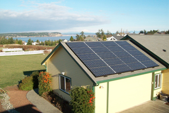 Solar array on house looking over bay