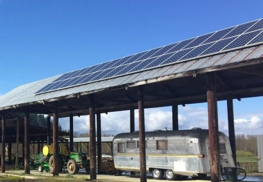 Solar Panels on Pole Bldg w Airstream and Tractor